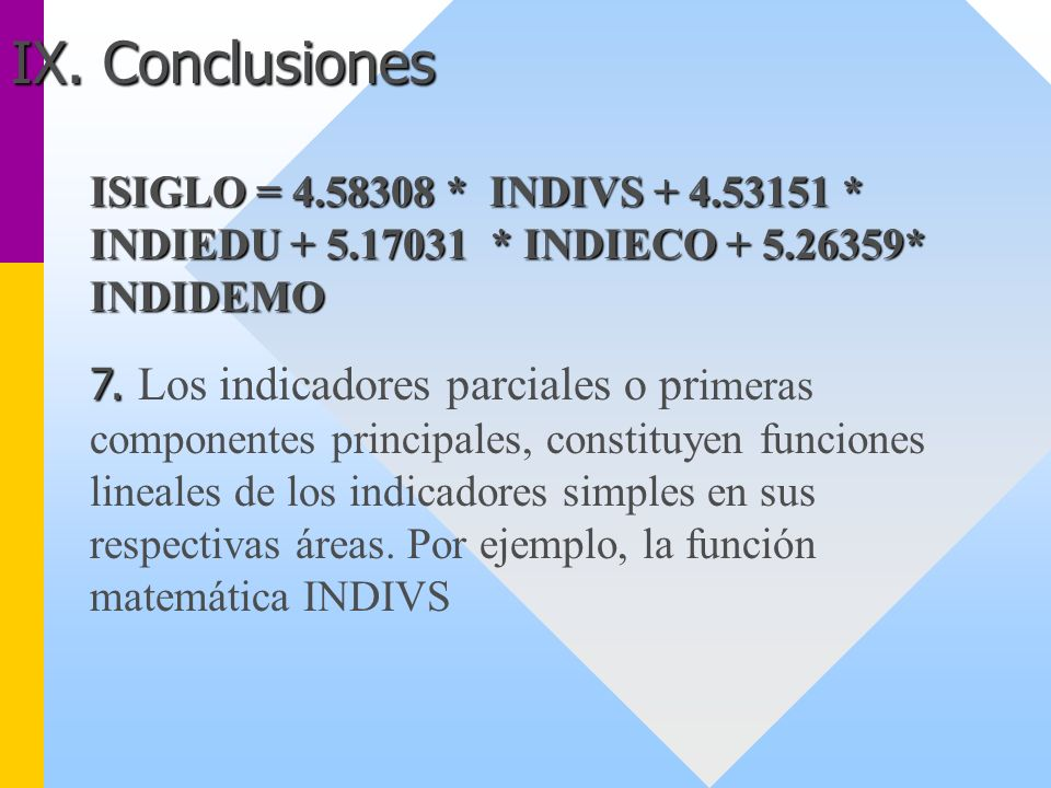 IX. Conclusiones ISIGLO = 4.58308 * INDIVS + 4.53151 * INDIEDU + 5.17031 * INDIECO + 5.26359* INDIDEMO.