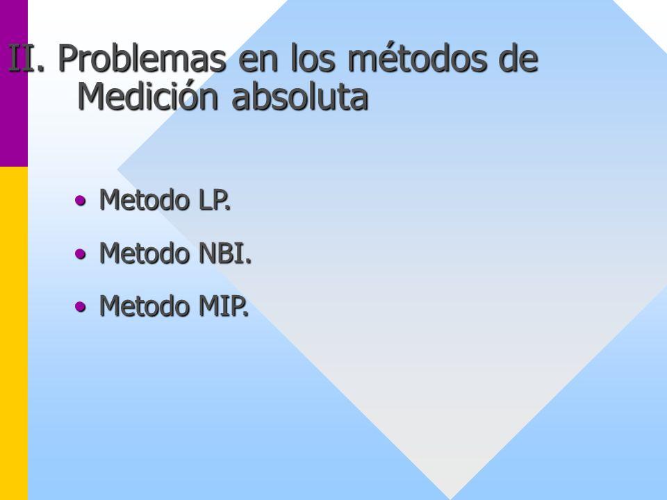 II. Problemas en los métodos de Medición absoluta