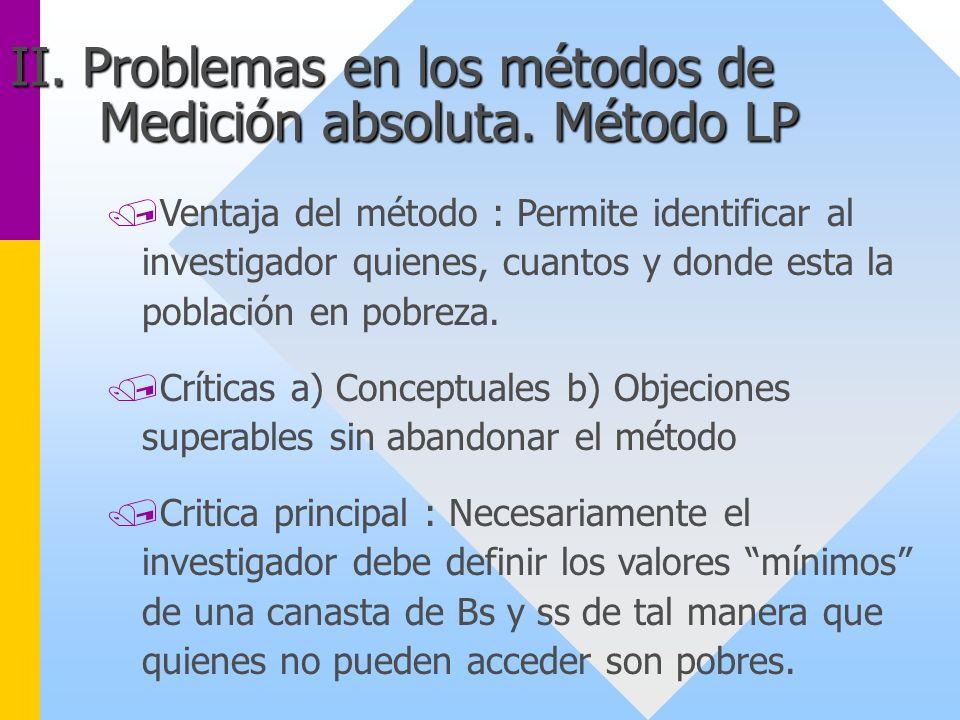 II. Problemas en los métodos de Medición absoluta. Método LP