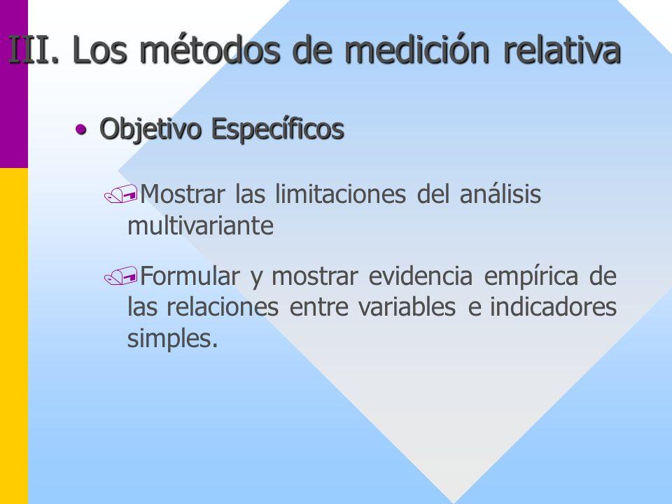 III. Los métodos de medición relativa