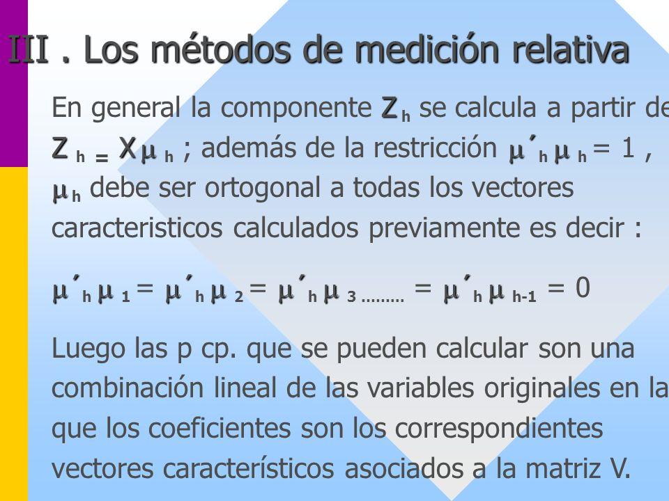 III . Los métodos de medición relativa