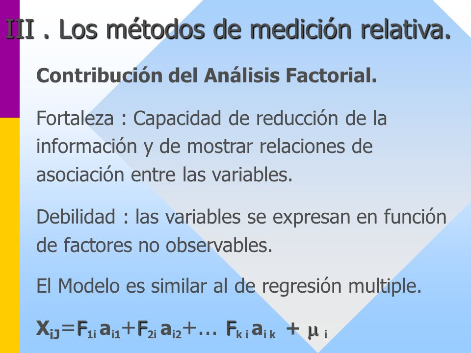 III . Los métodos de medición relativa.