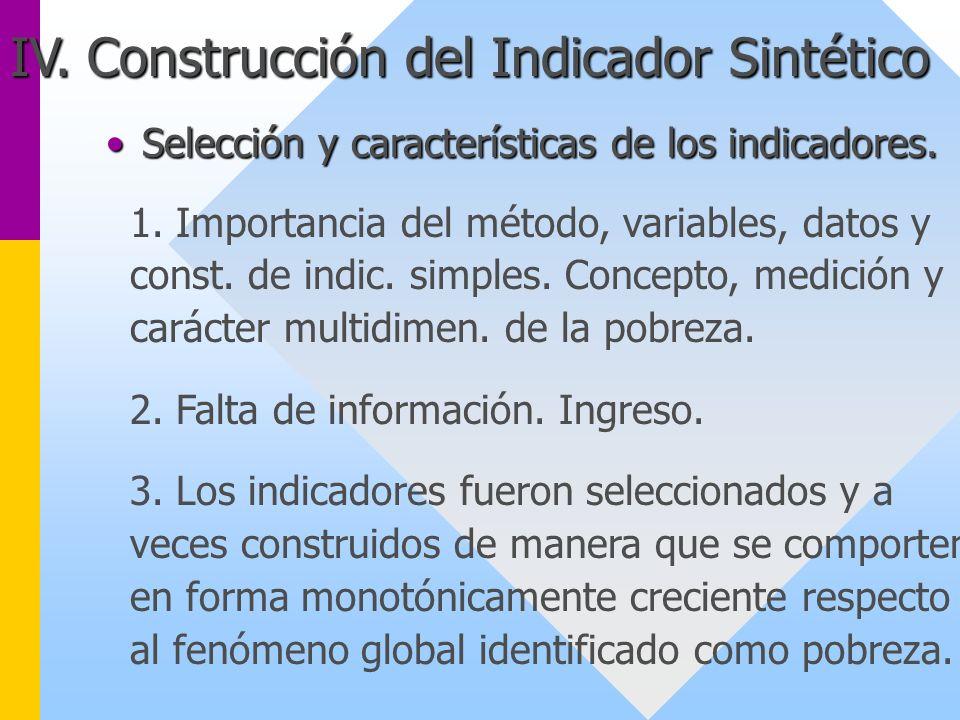IV. Construcción del Indicador Sintético