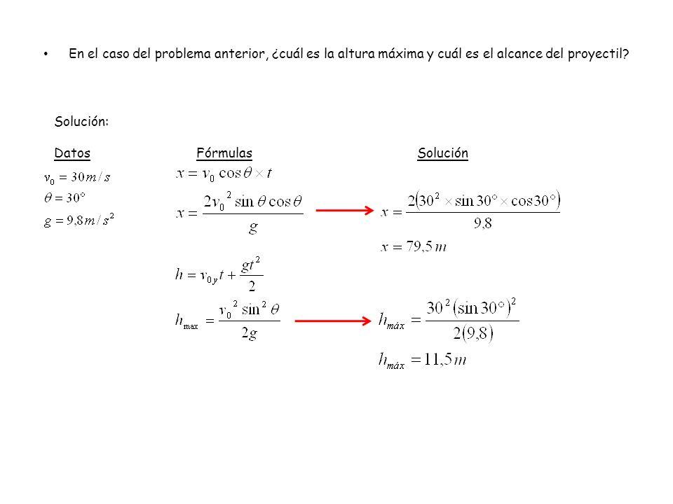 En el caso del problema anterior, ¿cuál es la altura máxima y cuál es el alcance del proyectil