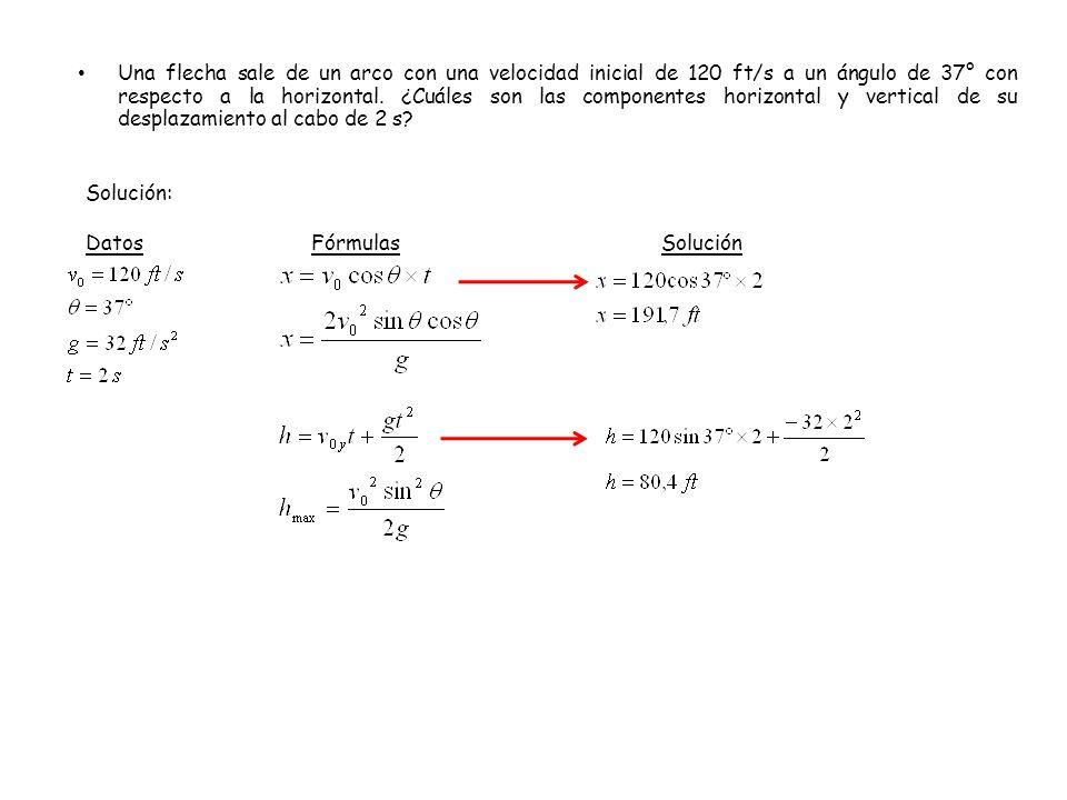 Una flecha sale de un arco con una velocidad inicial de 120 ft/s a un ángulo de 37° con respecto a la horizontal. ¿Cuáles son las componentes horizontal y vertical de su desplazamiento al cabo de 2 s