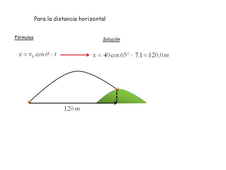 Para la distancia horizontal