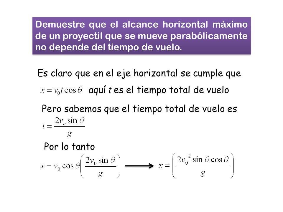 Demuestre que el alcance horizontal máximo de un proyectil que se mueve parabólicamente no depende del tiempo de vuelo.