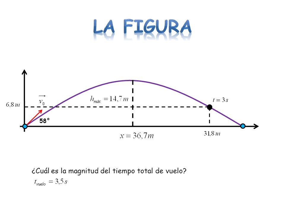 LA FIGURA 58° ¿Cuál es la magnitud del tiempo total de vuelo
