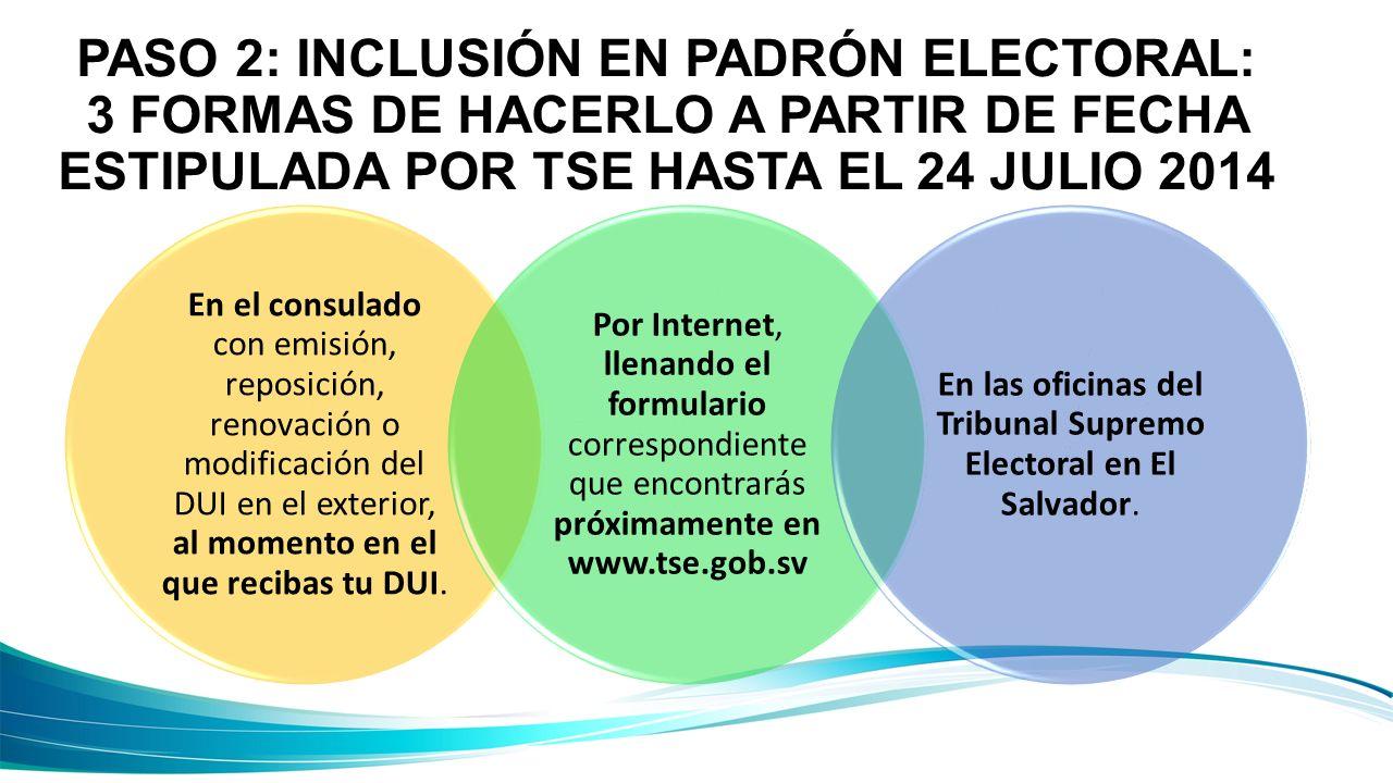 PASO 2: INCLUSIÓN EN PADRÓN ELECTORAL: