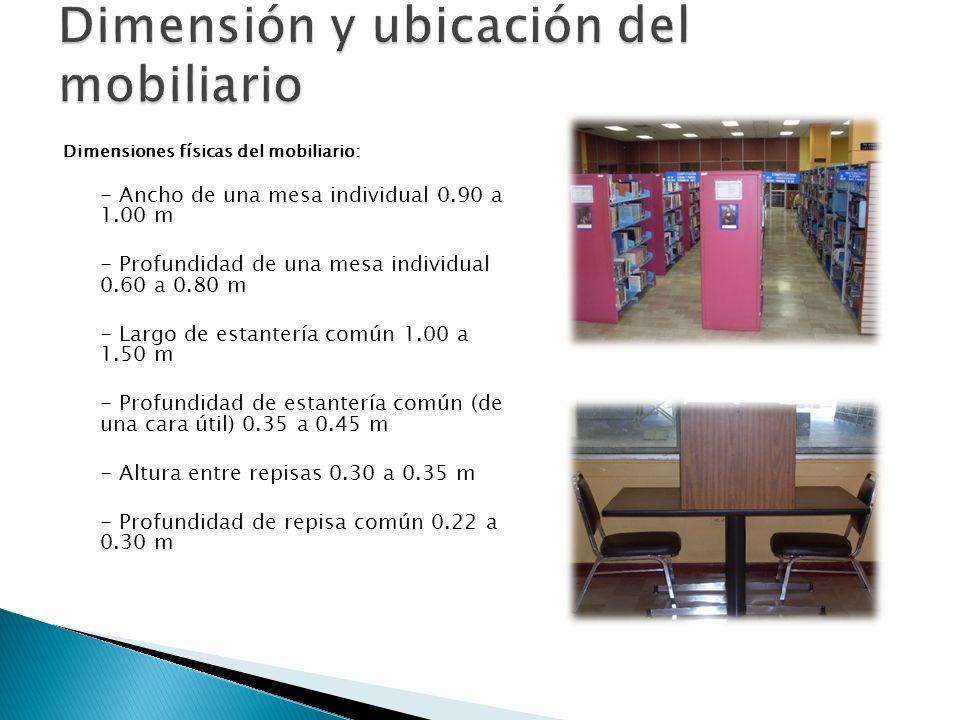 Dimensión y ubicación del mobiliario