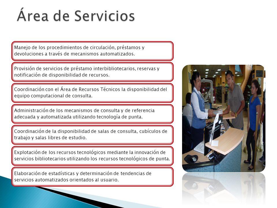 Área de Servicios Manejo de los procedimientos de circulación, préstamos y devoluciones a través de mecanismos automatizados.
