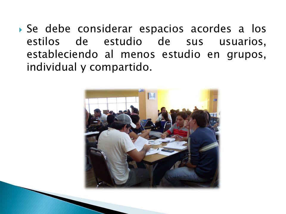 Se debe considerar espacios acordes a los estilos de estudio de sus usuarios, estableciendo al menos estudio en grupos, individual y compartido.