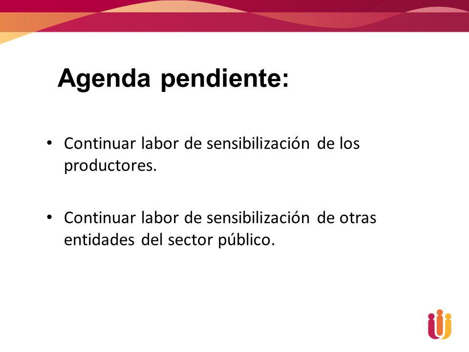 Agenda pendiente: Continuar labor de sensibilización de los productores.