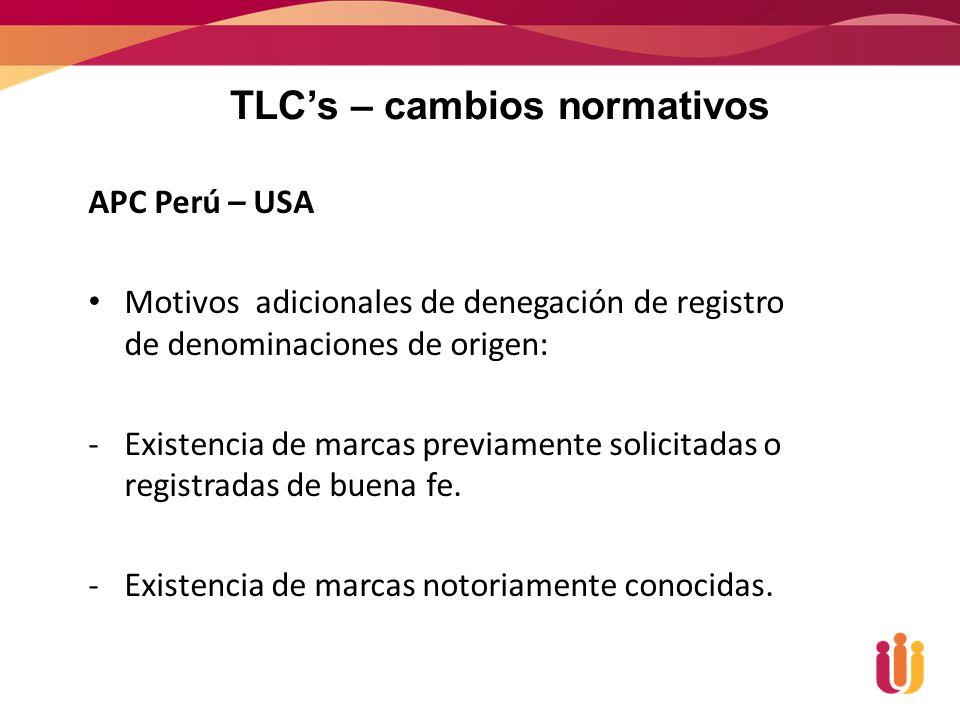 TLC's – cambios normativos