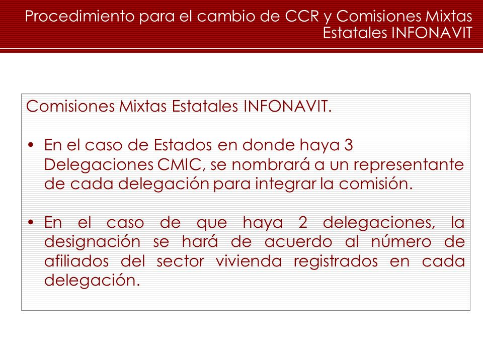 Comisiones Mixtas Estatales INFONAVIT.