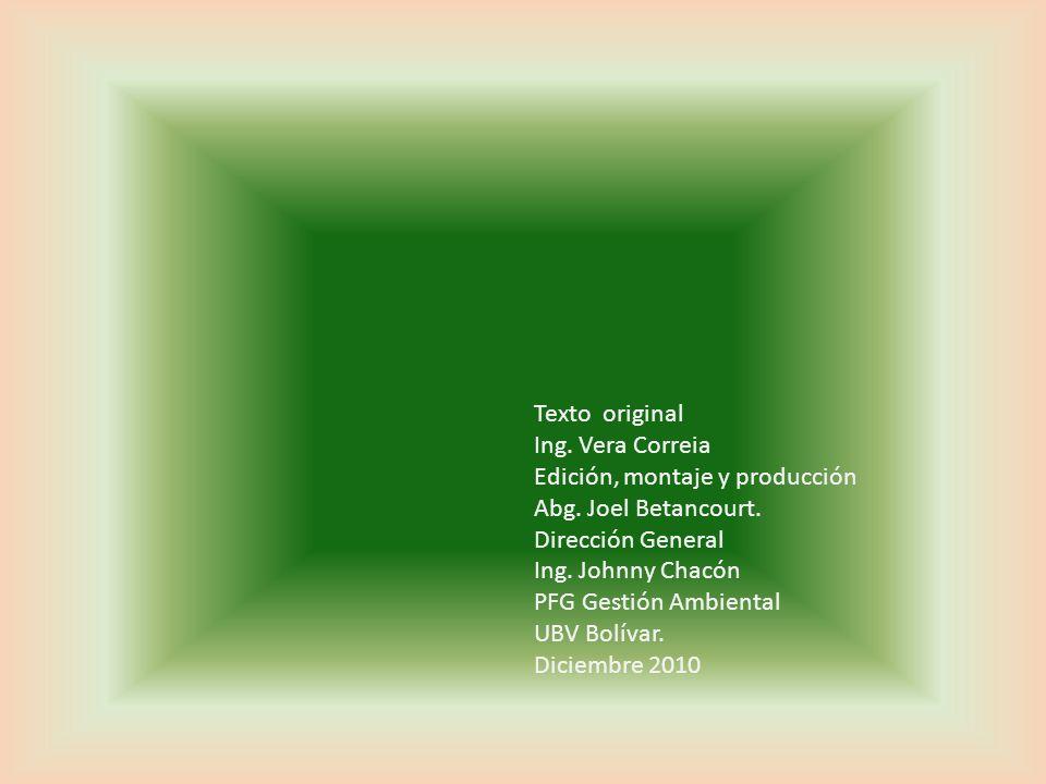 Texto original Ing. Vera Correia. Edición, montaje y producción. Abg. Joel Betancourt. Dirección General.