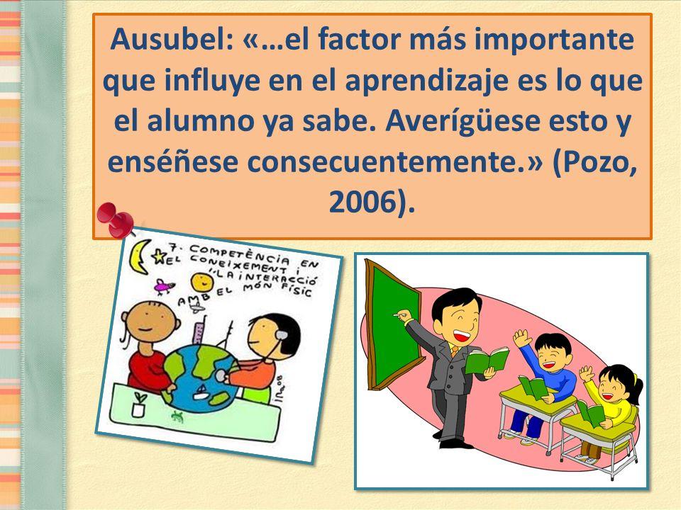 Ausubel: «…el factor más importante que influye en el aprendizaje es lo que el alumno ya sabe.