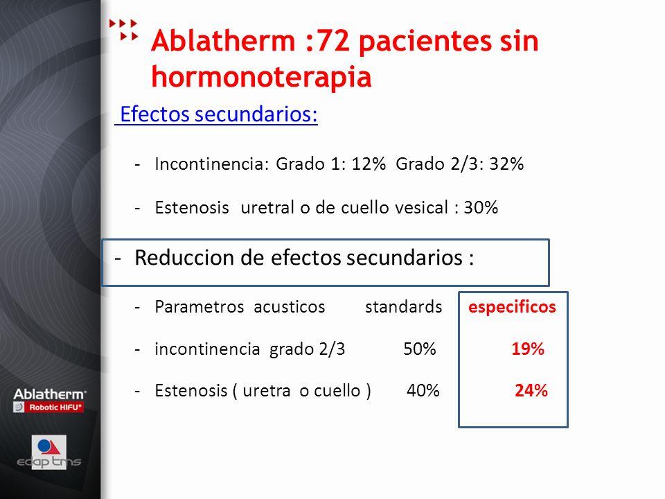 Ablatherm :72 pacientes sin hormonoterapia