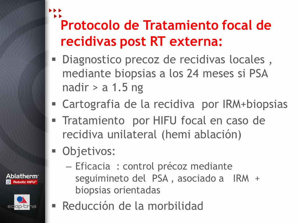Protocolo de Tratamiento focal de recidivas post RT externa: