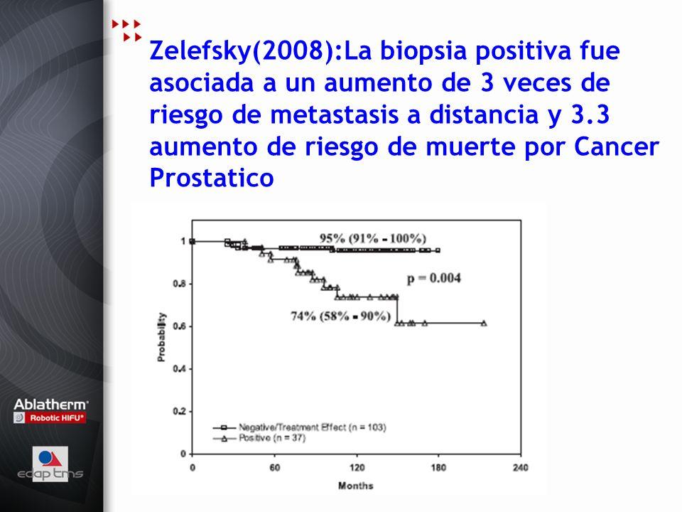 Zelefsky(2008):La biopsia positiva fue asociada a un aumento de 3 veces de riesgo de metastasis a distancia y 3.3 aumento de riesgo de muerte por Cancer Prostatico