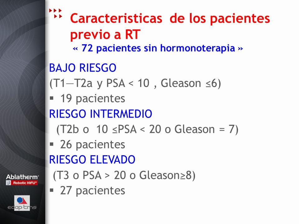 Caracteristicas de los pacientes previo a RT « 72 pacientes sin hormonoterapia »