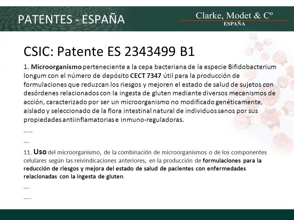 CSIC: Patente ES 2343499 B1 PATENTES - ESPAÑA