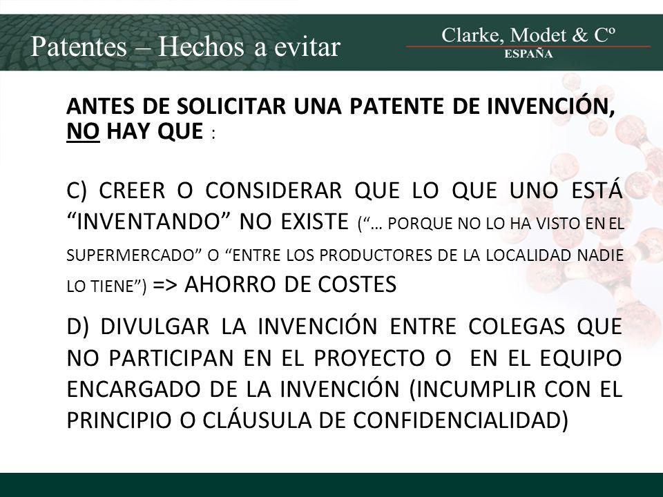 Patentes – Hechos a evitar