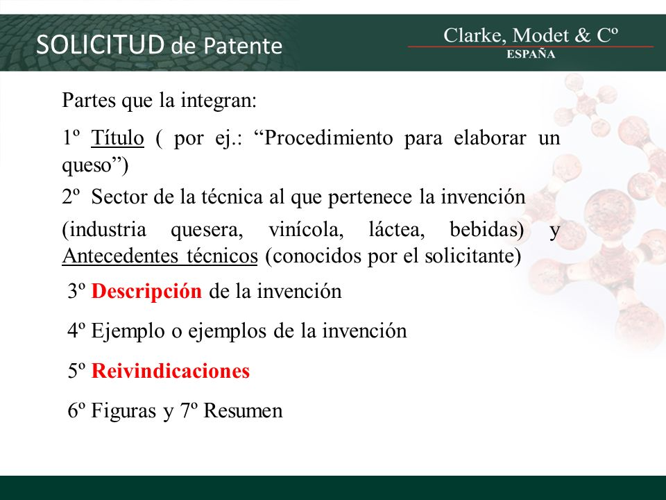 SOLICITUD de Patente Partes que la integran:
