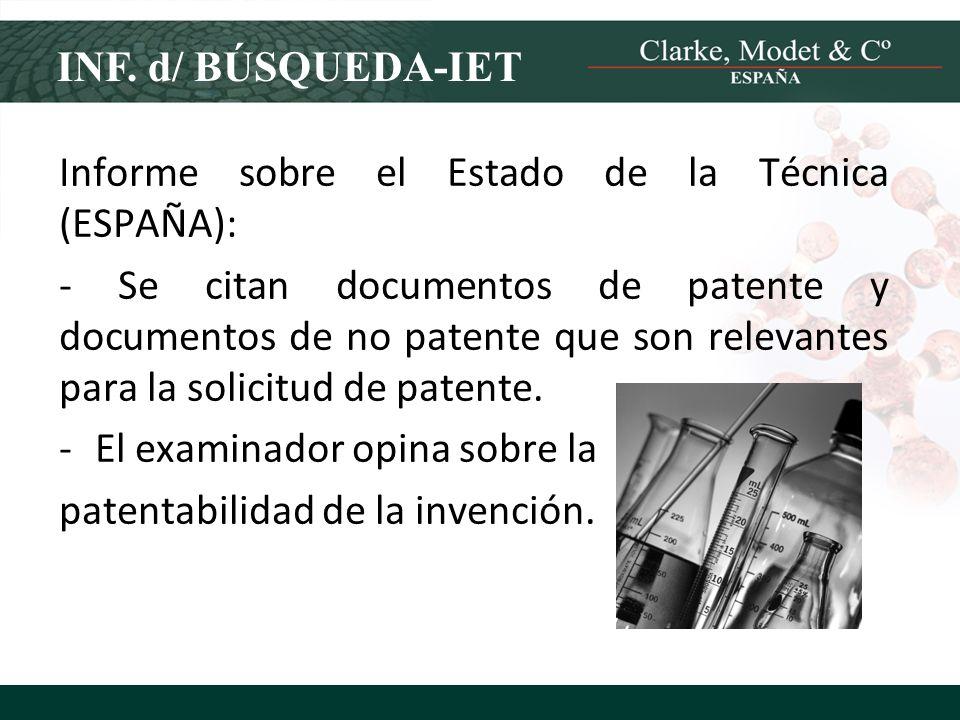 INF. d/ BÚSQUEDA-IET Informe sobre el Estado de la Técnica (ESPAÑA):