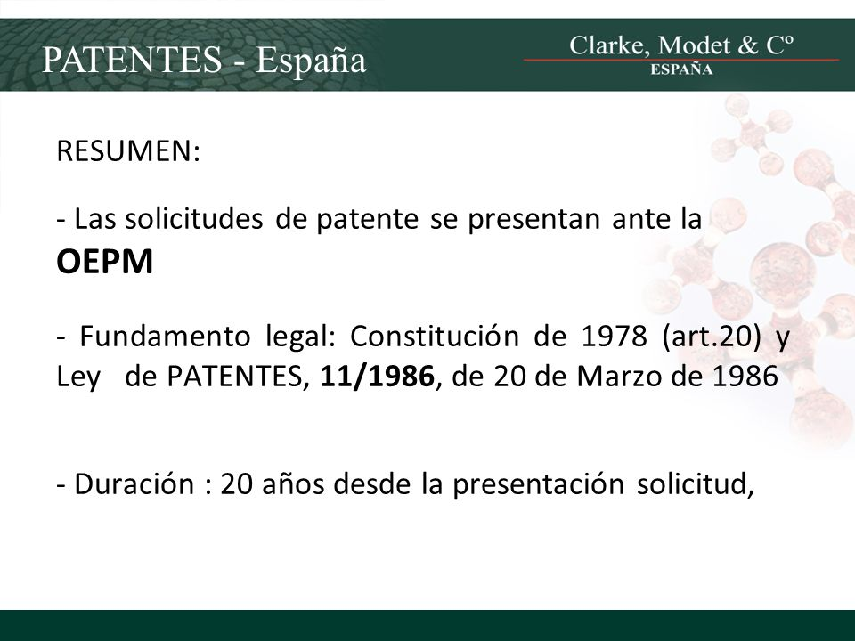 PATENTES - España RESUMEN: