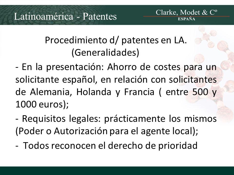 Procedimiento d/ patentes en LA. (Generalidades)