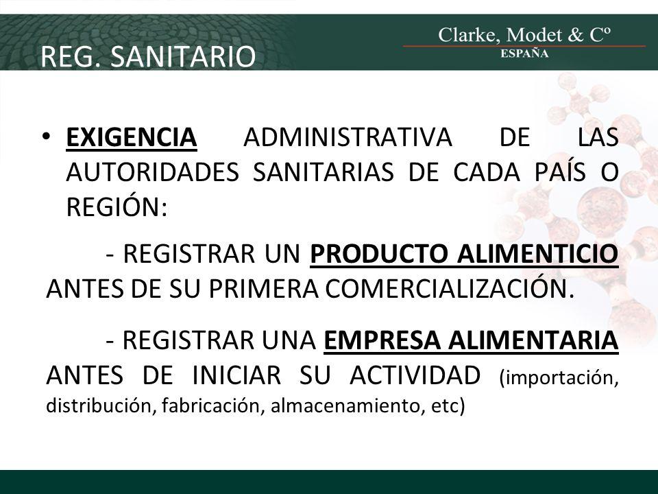 REG. SANITARIO EXIGENCIA ADMINISTRATIVA DE LAS AUTORIDADES SANITARIAS DE CADA PAÍS O REGIÓN: