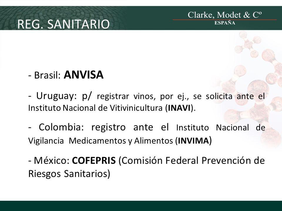 REG. SANITARIO - Brasil: ANVISA