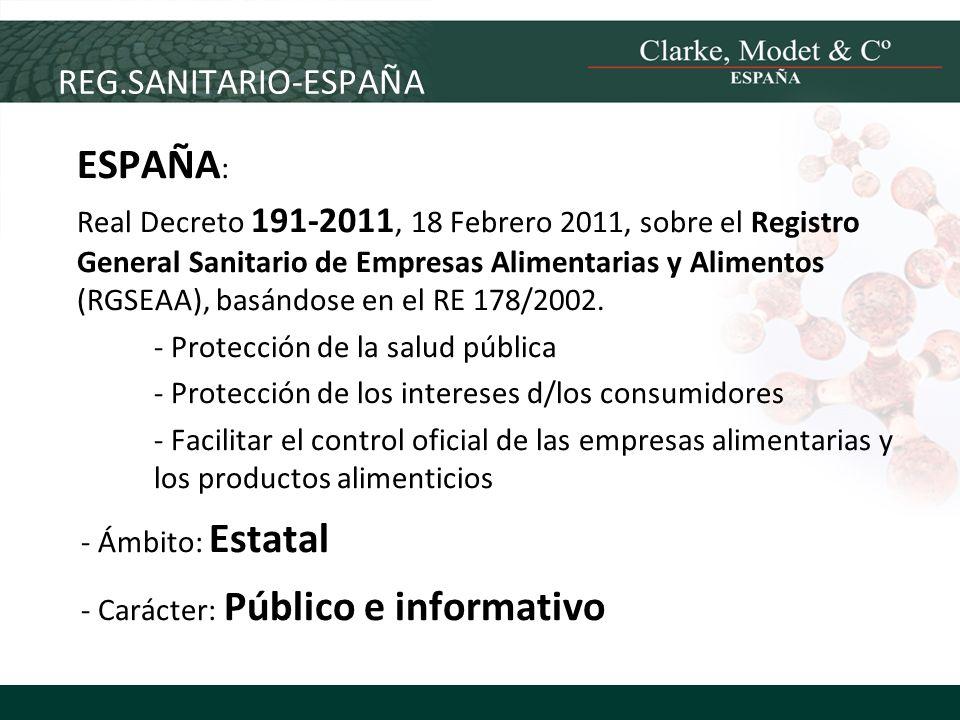 ESPAÑA: REG.SANITARIO-ESPAÑA