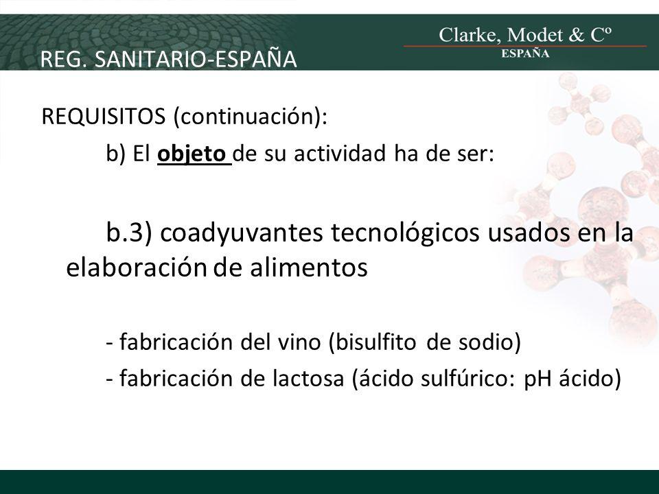 b.3) coadyuvantes tecnológicos usados en la elaboración de alimentos