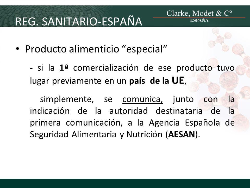 REG. SANITARIO-ESPAÑA Producto alimenticio especial