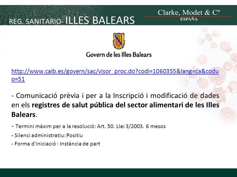 REG. SANITARIO- ILLES BALEARS
