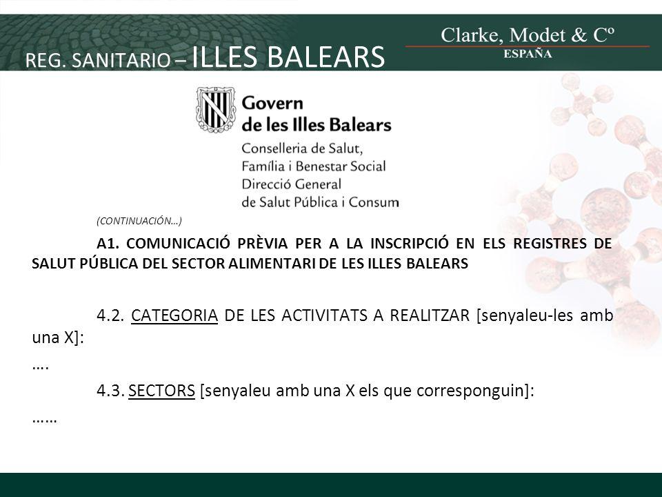REG. SANITARIO – ILLES BALEARS