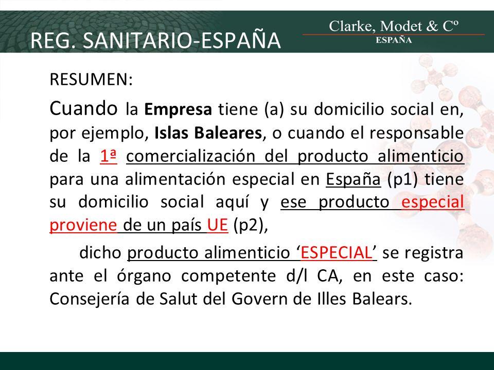 REG. SANITARIO-ESPAÑA RESUMEN: