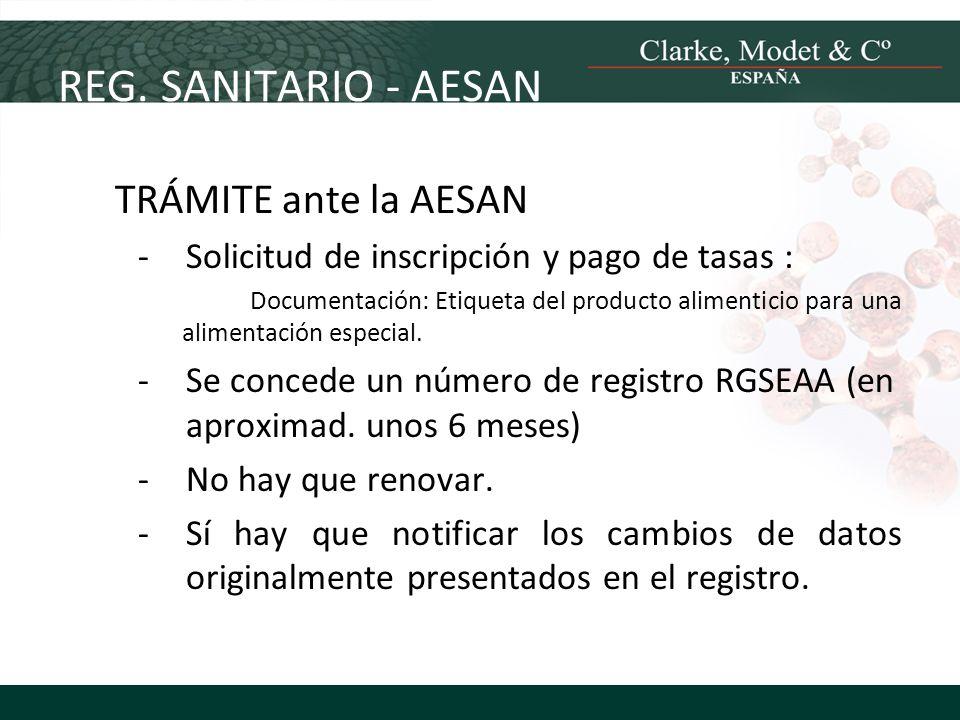 REG. SANITARIO - AESAN TRÁMITE ante la AESAN
