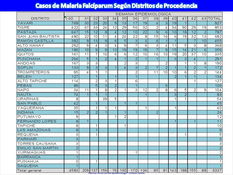 Casos de Malaria Falcíparum Según Distritos de Procedencia