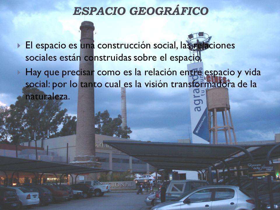 ESPACIO GEOGRÁFICO El espacio es una construcción social, las relaciones sociales están construidas sobre el espacio.