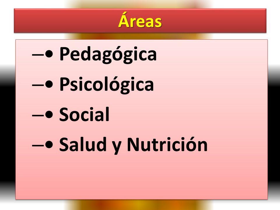 Áreas • Pedagógica • Psicológica • Social • Salud y Nutrición