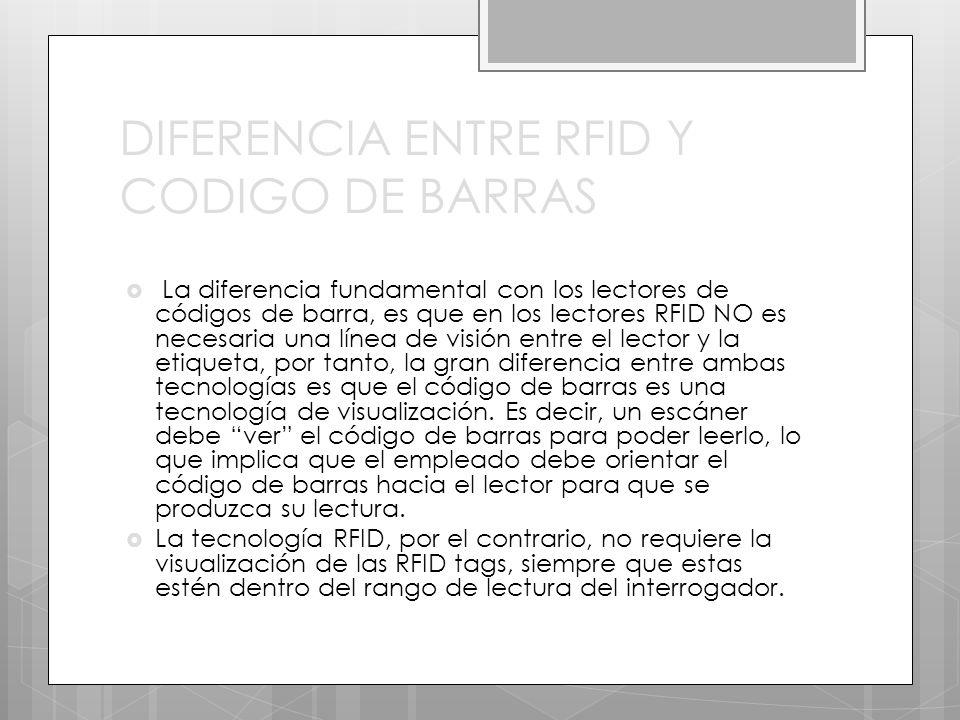 DIFERENCIA ENTRE RFID Y CODIGO DE BARRAS