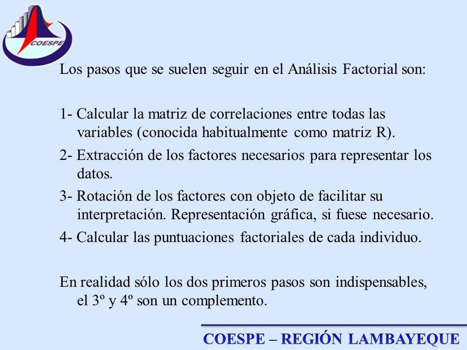 Los pasos que se suelen seguir en el Análisis Factorial son: 1- Calcular la matriz de correlaciones entre todas las variables (conocida habitualmente como matriz R).