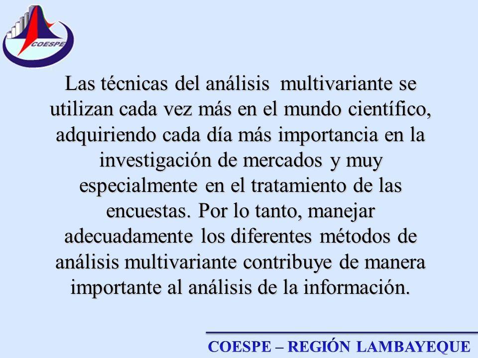 Las técnicas del análisis multivariante se utilizan cada vez más en el mundo científico, adquiriendo cada día más importancia en la investigación de mercados y muy especialmente en el tratamiento de las encuestas.