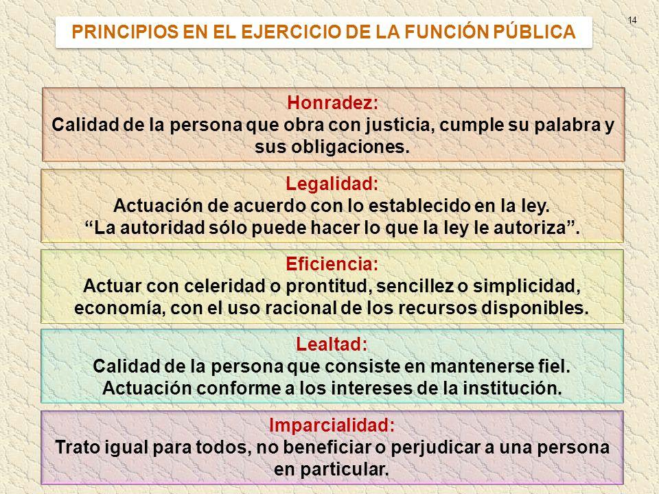 PRINCIPIOS EN EL EJERCICIO DE LA FUNCIÓN PÚBLICA
