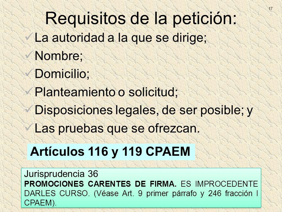 Requisitos de la petición: