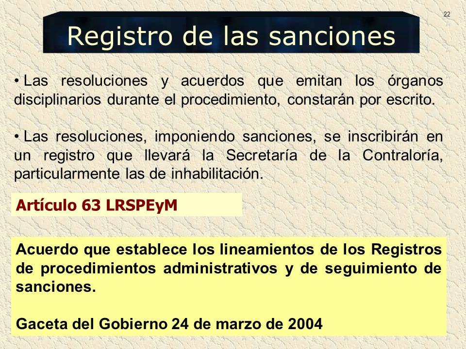 Registro de las sanciones