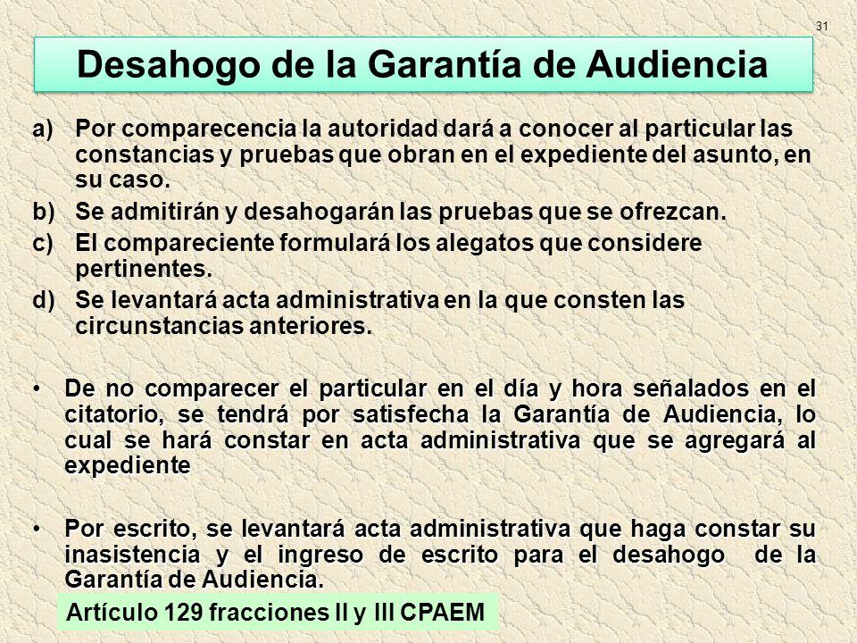 Desahogo de la Garantía de Audiencia